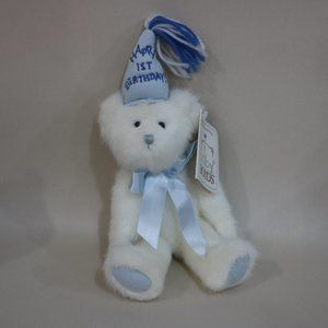 Happy 1st Birthday Plush White Boyds Bear Blue hat